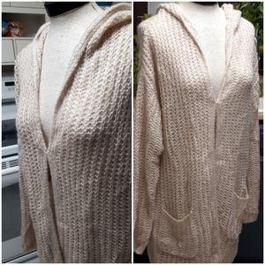 RUE 21 Knit Sweater Robe Coat hooded B30